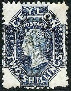 Ceylon SG72 2/- Steel Blue wmk Crown CC 21.5 mm Cat 22 pounds