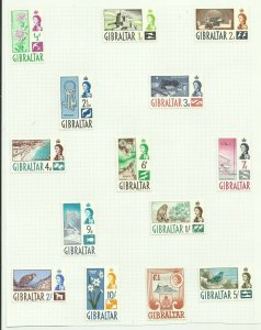 Gibraltar 1960 Set of 14, Hinged to page, Sg 160-173, Mounted Mint. {C/P-6}