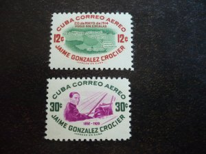 Stamps - Cuba - Scott# C117-C118 - Mint Hinged Set of 2 Air Mail Stamps