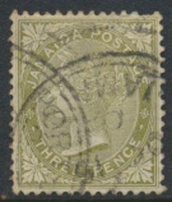 Jamaica SG 21a Used   pale olive Green  SC# 21  wmk CA  see details