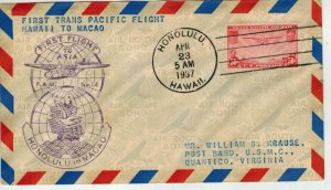1937 Foreign TRANS PACIFIC First Flight FAM 14-11A HAWAII To MACAO + C22