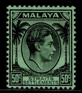MALAYSIA - Straits Settlements GVI SG289, 50c black/emerald, M MINT. Cat £16.