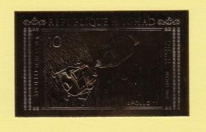 Chad, Scott cat. 239 A. Apollo 11, Gold Foil IMPERF issue. ^