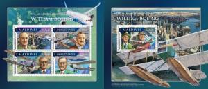 Z08 IMPERFORATED MLD161108ab MALDIVES 2016 William Boeing MNH ** Postfrisch Set