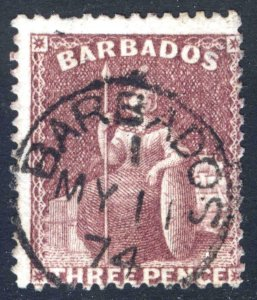 Barbados 1873 3d Brown Purple Perf 14 Wmk Sm Star SG 63 Sc 38 VFU Cat £110($135)
