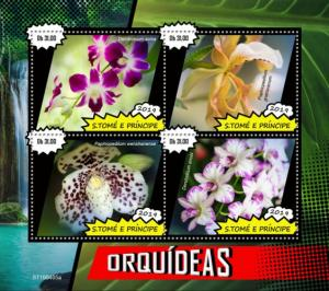 SAO TOME - 2019 - Orchids - Perf 4v Sheet - MNH