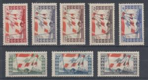 Lebanon Sc 181-188 MLH. 1946 Soldiers & Flag cplt