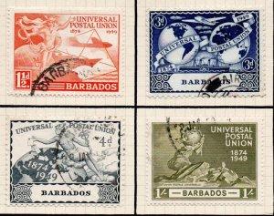 Barbados Sc 212-15 1949 UPU Anniversary stamp set used