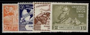TURKS & CAICOS ISLANDS GVI SG217-220, anniversary of UPU set, M MINT.