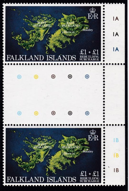 Falkland Islands 1982 Semi-Postal  Stop Light Margin Gutter Pair VF/NH
