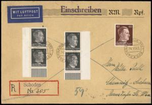 Germany 1943 Aleksandrija Kret Schoden Ostland Registereed Airmail Cover 84771