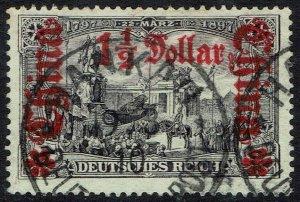 GERMAN PO IN CHINA 1905 DEUTSCHES REICH $11/2 ON 3MK NO WMK 26 X17 HOLES USED
