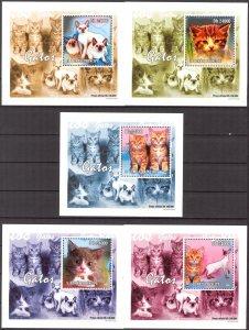 {073} Sao Tome & Principe 2010 Cats 5 S/S Deluxe MNH**