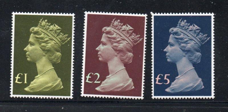 Great Britain Sc MH169, 175-76 1977 Machin Head Hi value stamps mint NH