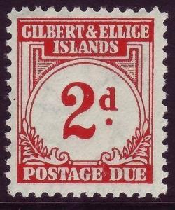 GILBERT & ELLICE ISLANDS SGD2, 2d scarlet, NH MINT. Cat £10.
