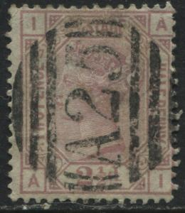 GB Used Abroad Malta A25 on scarce 1876 2 1/2d Plate 17 lettered AI