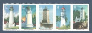 4146-50 Pacific Lighthouses Strip Of 5 Mint/nh FREE SHIPPING