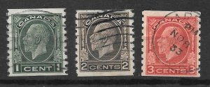 Canada Scott #205-7 Used King George V Perf 8 1/2 vertical coil 2018 CV $4.50