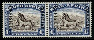 SOUTH AFRICA SGO47a 1953 1/= BLACKISH-BROWN & ULTRAMARINE MTD MINT