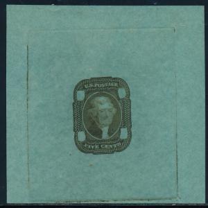 #67-E2c DIE ESSAY II ON GREEN BOND -- OLIVE GREEN -- SUPERB BQ4616