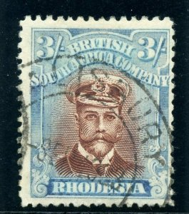 Rhodesia 1922 KGV Admiral 3s red-brown & turquoise-blue VF used. SG 304.