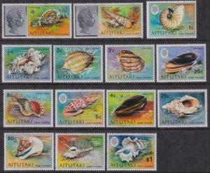 Aitutaki 1974 SC 82-95 VF MNH Set Shells
