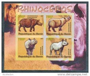 Benin 2007 M/S Rhinoceros Wild Animals Mammal Fauna Nature S/S Stamps MNH imperf