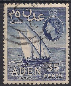 Aden 1953 - 63 QE2 35ct Violet Blue Dhow used SG 56a ( J1492 )