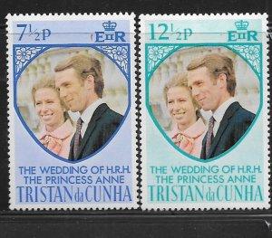 Tristan da Cunha MNH 189-90 Royal Wedding Princess Anne