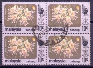 Malaya Pahang Scott 108, 1979 Flowers 10c Block of 4 used