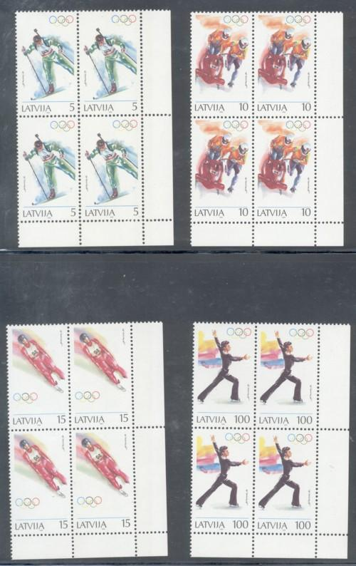 Latvia Sc 356-9 1994 Olympic stamps Blocks of 4 mint NH