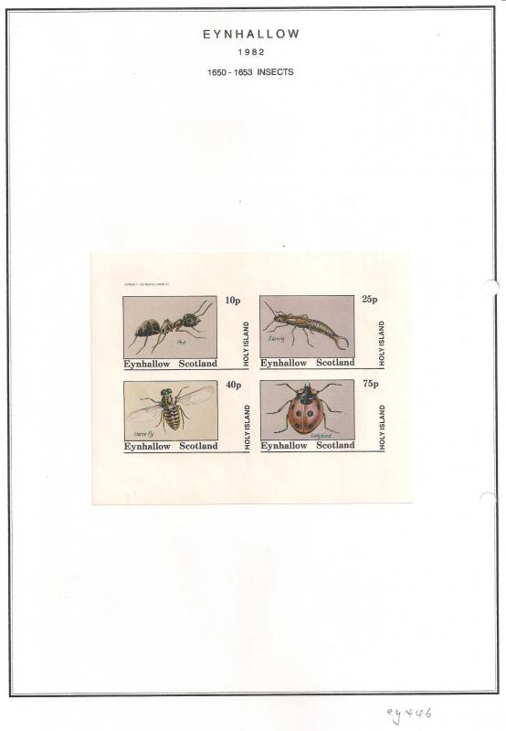 SCOTLAND - EYNHALLOW - 1982 - Insects - Imperf 4v Sheet - MLH