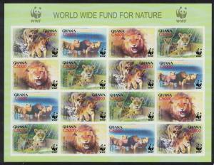 Ghana WWF African Lion Imperforated Sheetlet of 4 sets SG#3432-3435 MI#3701-3704