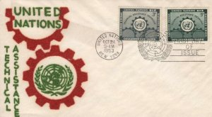 UN #19/20 - TECHNICAL ASSISTANCE FDC - Velvatone cachet
