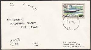 FIJI 1983 Air Pacific first flight cover to Hawaii.........................54494