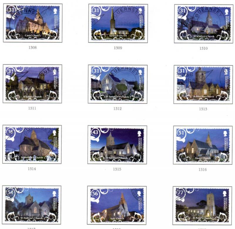 Guernsey Sc 1063-74 2009 Christmas stamp set used