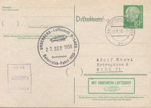 Germany Zeppelin Card 1958  Underberg-Luftschiff Austria Flight.Nice Cancel