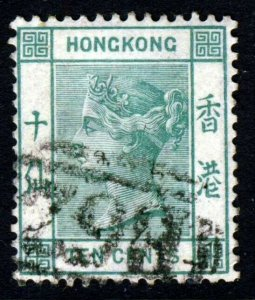 HONG KONG Queen Victoria 1884 10c. Green Wmk Crown CA SG 37a VFU
