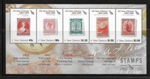 NEW ZEALAND, 2007A, MNH, SS, 150 YEARS OF STAMPS 1855-1905