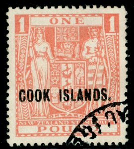 COOK ISLANDS SG134, £1 pink, FINE USED. Cat £130.