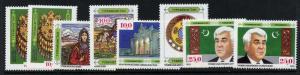 Turkmenistan 1-8 MNH Costumes, President Niyazov, Hose, Crest, Flag