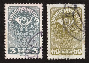 AUSTRIA COAT-OF-ARMS SCOTT #200 AND #216 USED 1919