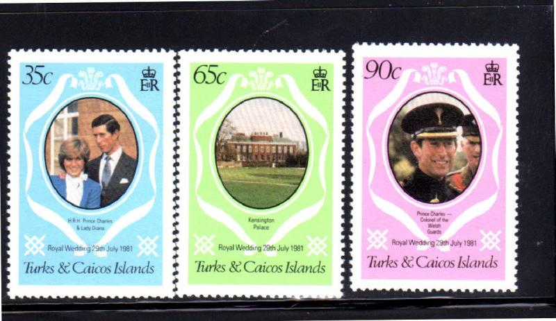 TURK & CAICOS ISLANDS #486-488  1981  ROYAL WEDDING MINT  VF NH  O.G