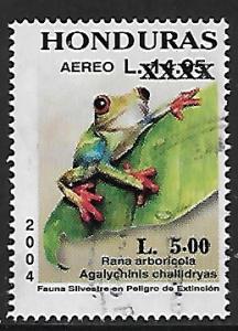 Honduras # C1255 - Red-eyed Tree Frog - OVPT - used   -{BR9}