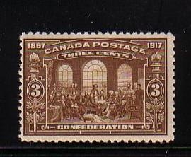 Canada Sc 135 1917 3c Confederation stamp mint