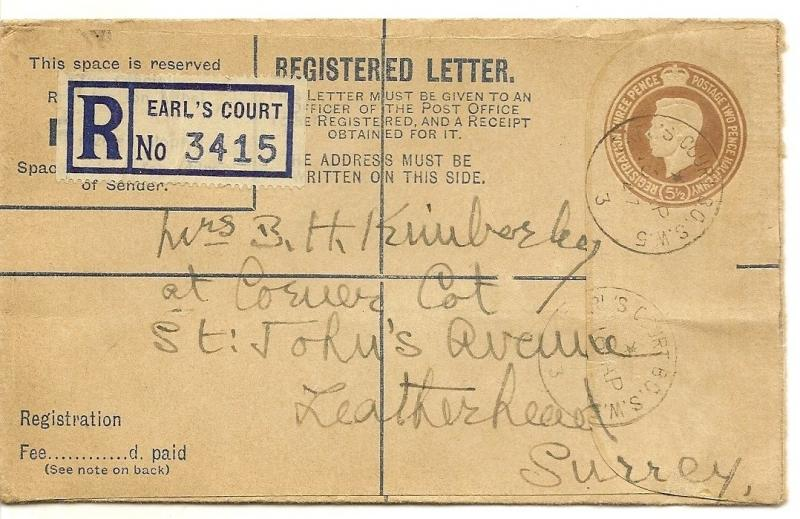 GB 1947 Registered Cover to Leatherhead