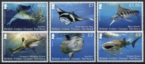 BIOT Marine Animals Stamps 2017 MNH Mega Fauna Sharks Fish Marlin Sunfish 6v Set