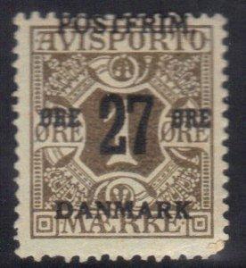 DENMARK SCOTT# 138 MH 27o ON 1o 1918 NEWSPAPER STAMP    SEE SCAN