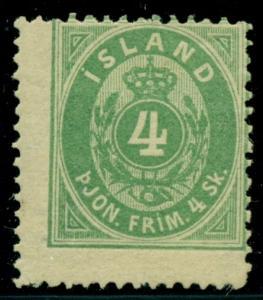 ICELAND #O1 (Tj1), 4sk green Official, fresh og hinged Pollak cert Scott $8,500