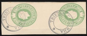 TRISTAN DA CUNHA 1921 Precursor use GB KGV 1d tete-beche pair postal stationery